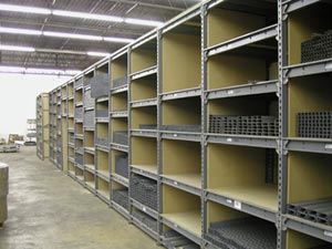 Steel Shelving Inventory Area